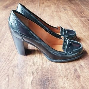 Patent Leather Moc Toe Penny Loafer Heel Pumps